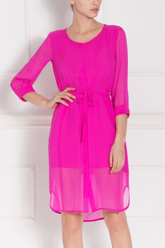 Fuchsia silk midi dress