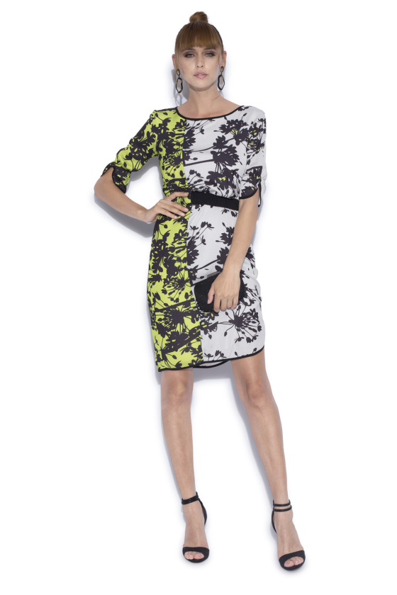 Printed dress with elastic waist detail