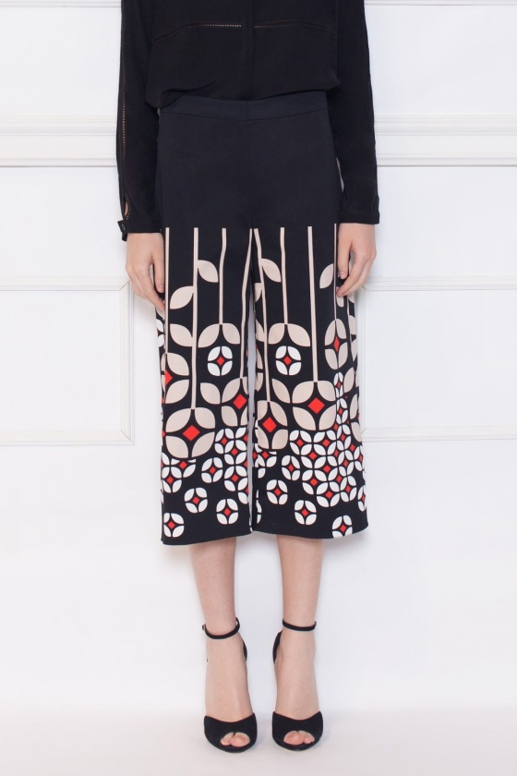 Pantaloni cullotes cu imprimeu
