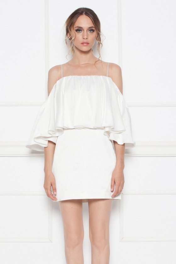 White evening dress with ruffles