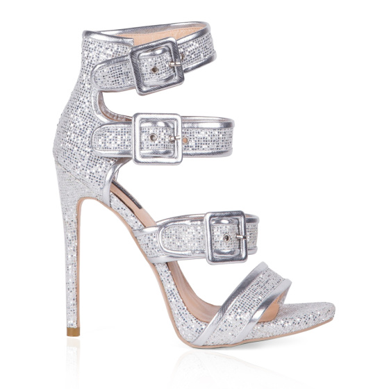 Heeled silver sandals