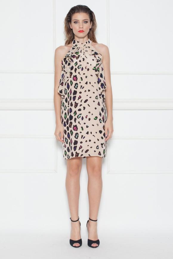 Ruffled silk animal print mini dress
