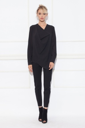 Draped black top with long sleeves