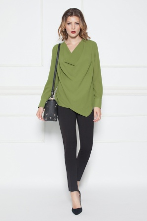 Draped khaki top with long sleeves