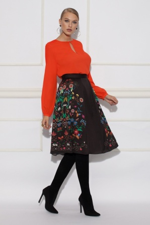 Midi skirt with floral print
