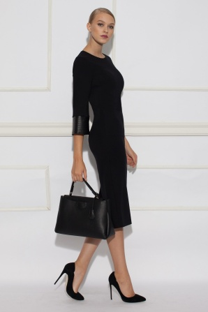 Day dress with faux leather details