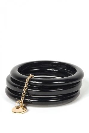 Brăţară neagra cu lant auriu