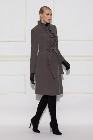 Coat with ruffled neckline