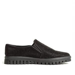 Pantofi casual negri cu strasuri