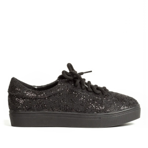 Black shoes from sparkling lace