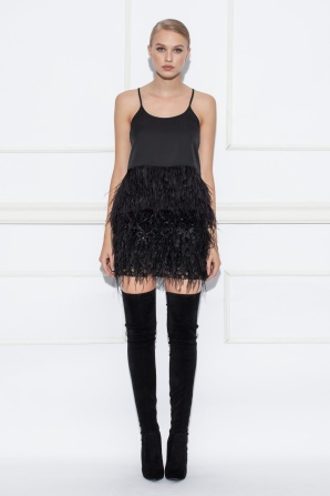 Black top with ostrich feathers inserts