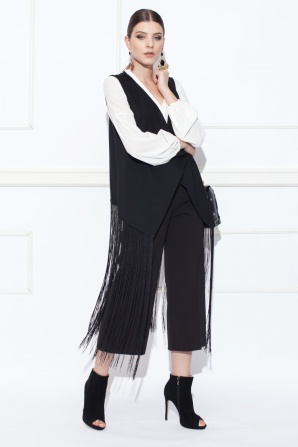 Black vest with fringes