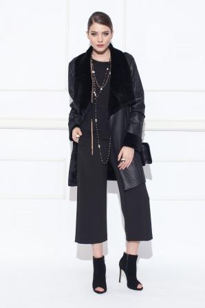 Jachetă din piele sintetica cu revere supradimensionate