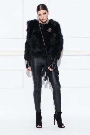 Marmot real fur black coat
