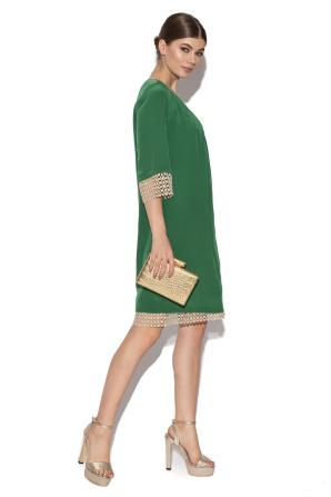 Rochie verde cu detalii din dantela