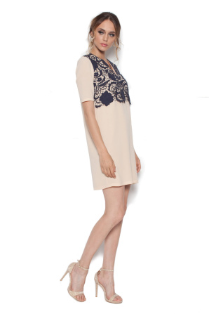 Beige mini dress with lace detail