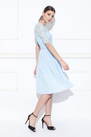 Rochie midi albastra cu top din dantela
