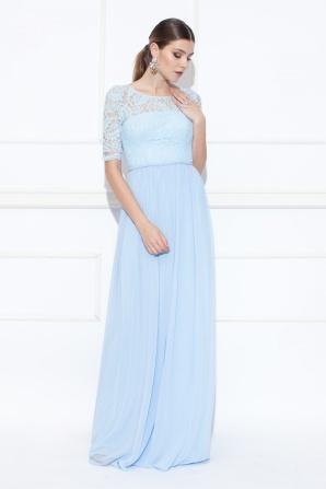 Rochie maxi albastra cu top din dantela