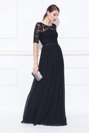Black maxi dress with lace top