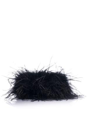 Geanta neagra cu fulgi din pene de stru