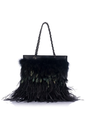 Handbag with feathers
