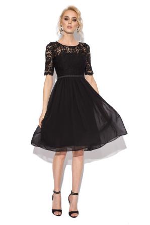 Rochie midi neagra cu top din dantela