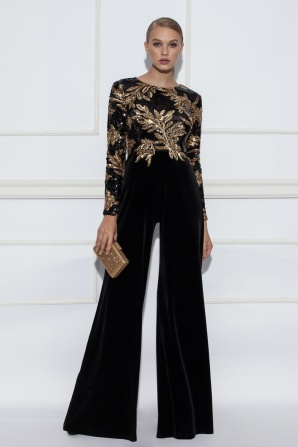 Black jumpsuit with golden sequins