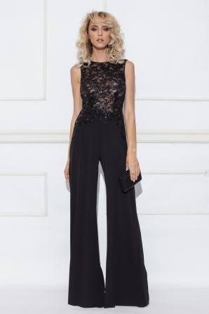 Black lace top jumpsuit