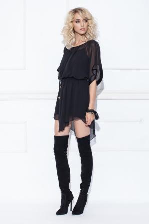 Belted asymmetrical mini dress