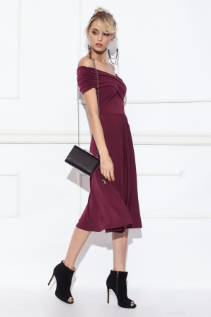 Off-the-shoulder cloche dress