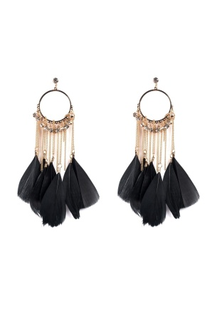 Golden earrings with black feathers