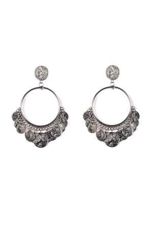 Silver earrings with coins