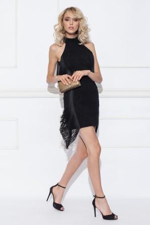 Evening dress with side fringes