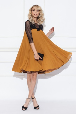 Pleated mustard dress with embroidered detail