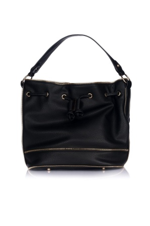 Black purse with golden zippers