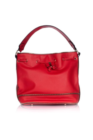 Red purse with golden zippers