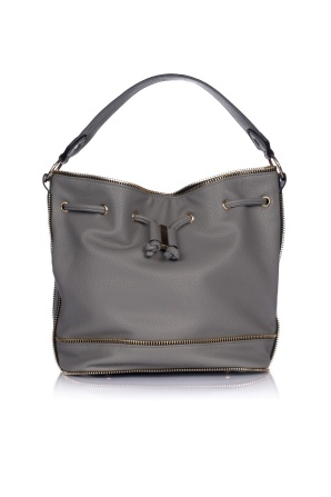 Grey purse with golden zippers