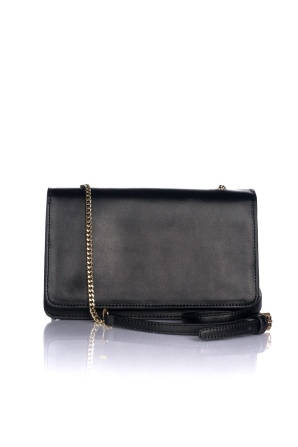 Black purse with golden chain
