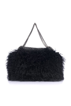 Natural black fur handbag