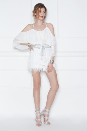 Feather mini white skirt