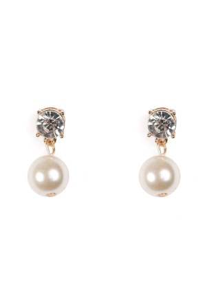 Golden earrings with pearl and crystal stone