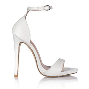 White sandals with thin stripe