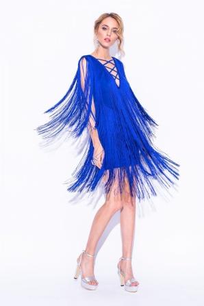 Fringed blue mini dress