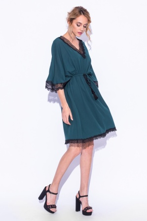 Green lace detail dress