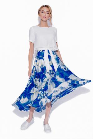 Blue flowers print flared skirt
