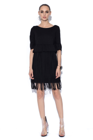 Black dress with fringes details