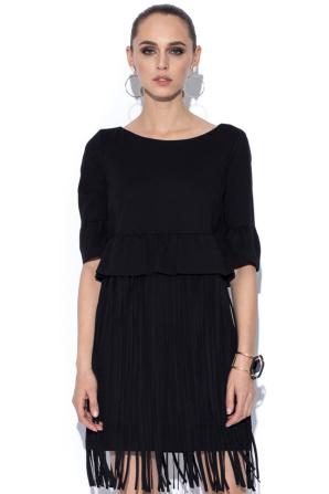 Black dress with fringes details
