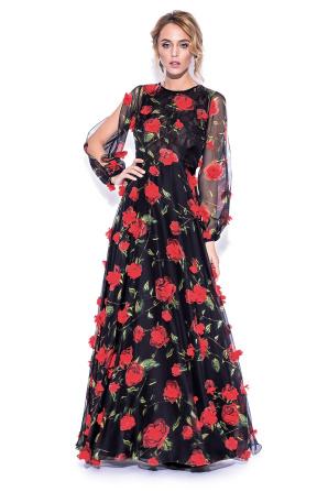 Maxi 3D floral details dress