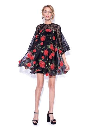 Black 3D details ample dress