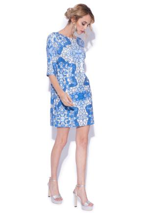 Evening short dress with geometric print